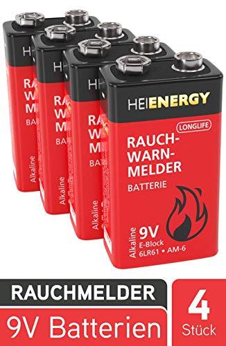 HEITECH 9V Batterie für Rauchwarnmelder - 4× Alkaline 9V Block Batterien langlebig & auslaufsicher...