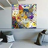 Cartel Decorativo de Colorido Gato Animal Arte Abstracto póster e impresión en la Sala sobre Lienzo en la Pared,Pintura sin Marco,60x60cm
