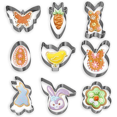 Cortadores de galletas de Pascua, juego de cortadores de galletas de 9 piezas, conejo de acero inoxidable, zanahoria, mariposa, huevo, flor, etc.