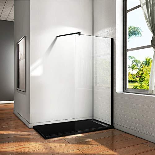 Aica Sanitär 70 x 200cm Duschwand Duschtrennwand 10mm Sicherheitsglas Walk in Dusche Schwarze