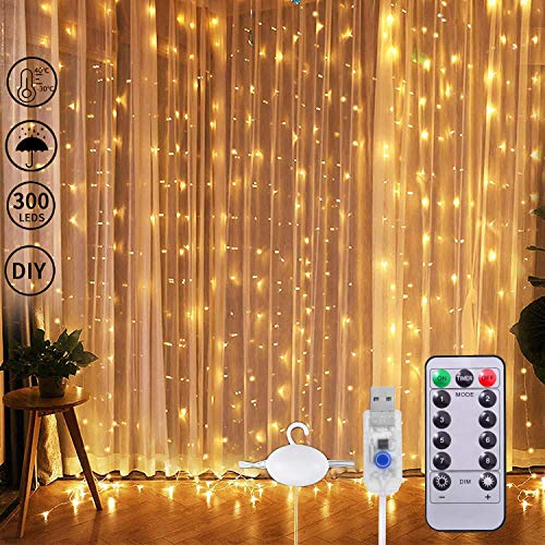 300 LED Window Curtain String Light Fairy Lights USB 3m*3m Wedding Party Home Garden Bedroom Outdoor Indoor Wall Decorations, Warm White