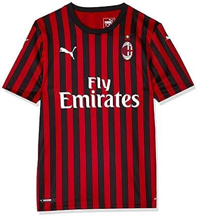 PUMA ACM Home Shirt Replica SS with Sponsor Logo Maillot, Hombre, Tango Red Black, S