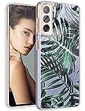 Funda para Samsung Galaxy S21 Plus, funda de silicona, transparente, diseño de flores, funda protectora delgada y suave, TPU, funda flexible resistente a los arañazos para Samsung S21 Plus 5G