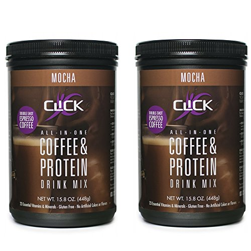 CLICK All-in-One Protein & Coffee Meal Replacement Drink Mix, Mocha, 15.8 Ounce (2 Pack)