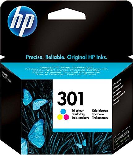 HP 301 CH562EE Cartuccia Originale, da 165 Pagine, per HP DeskJet Serie 1000, 1050 1500, 2000, 2050, 2500, 3000 e 3050, HP Envy Serie 4500 e 5500 e HP Officejet Serie 2600 e 4600, Tricromia