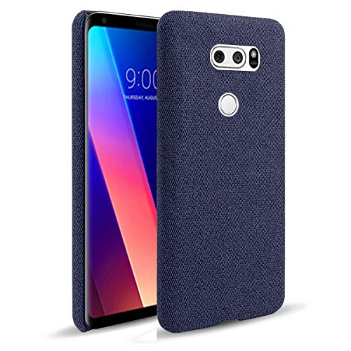 Capa LUSEHNG para LG V30, capa de smartphone de lona de cor sólida para LG V30, fina, durável, leve - azul