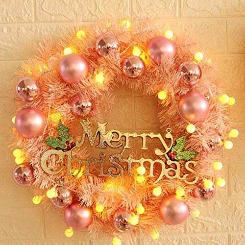 UWY Artificial Chwreath Garland (40 cm) with Ball Balls for Wall Decoration on The Front Door (with Without LED Light)
