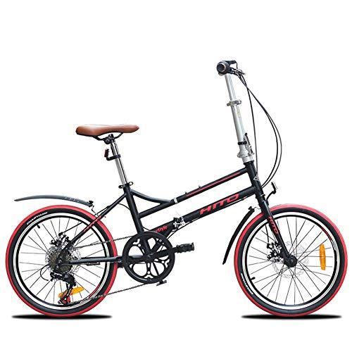 LNDDP Bicicletas Plegables para Adultos, Bicicleta Plegable con Freno Disco 20 Pulgadas y 6 velocidades, Bicicleta Viaje Ligera con Marco Reforzado portátil con Guardabarros Delantero y Trasero