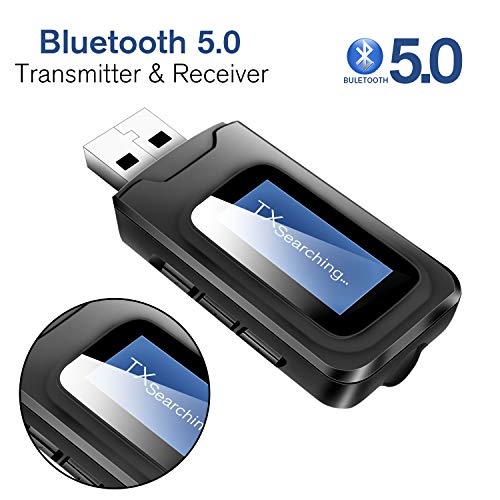 SYOSIN Bluetooth Transmitter for tv,Bluetooth tv Adapter Receiver with LCD Display,USB Bluetooth tv Transmitter for TV Car PC
