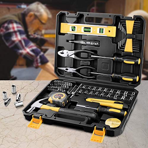 ETEPON 78 Piece Household Tool Kit Set for Home Auto Repair with Tool Box Storage Case ET016