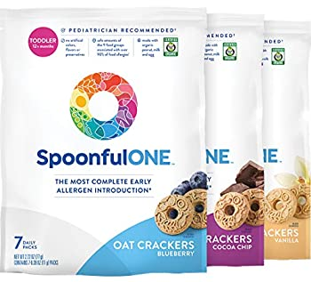 SpoonfulONE Food Allergen Introduction Oat Crackers | Smart Feeding Snack for a Toddler or Baby 12+ Months | Certified Organic  Variety Pack   21 Pack