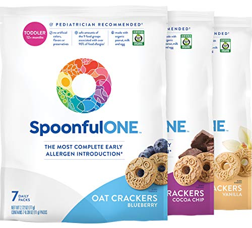SpoonfulONE Food Allergen Introduction Oat Crackers | Smart Feeding Snack for a Toddler or Baby 12+ Months | Certified Organic (Variety Pack) (21 Pack)