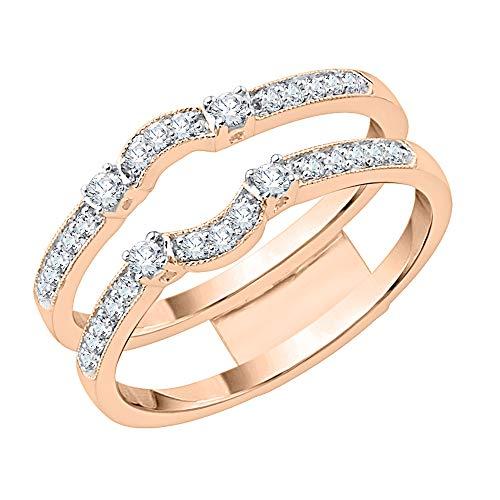 KATARINA Anillo de ajuste curvo de diamante en oro rosa de 14 k (3/4 quilates, J-K, SI2-I1) (tamaño 7)