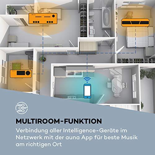 auna Intelligence Amp Stereo Verstärker Heimkino-Verstärker (2 x 40 Watt max, 2 x Aux-In, WiFi, Bluetooth, App-Control, Multiroom-Funktion, für Spotify / Tidal / Napster / iHeartRadio UVM) schwarz