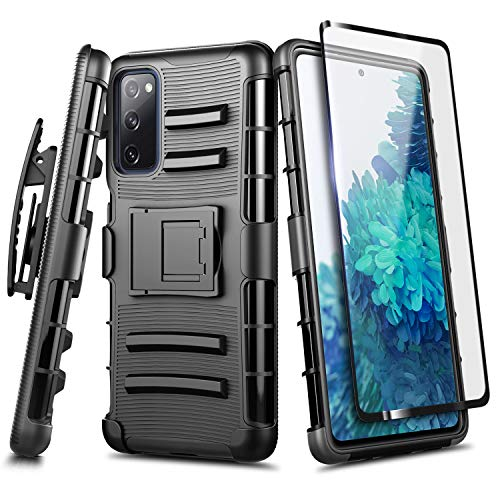 NZND Case for Samsung Galaxy S20 FE 5G with Tempered Glass Screen Protector (Full Coverage), Belt Clip Holster Kickstand, Heavy Duty Protective Shockproof Armor Defender Combo Rugged Phone Case -Black