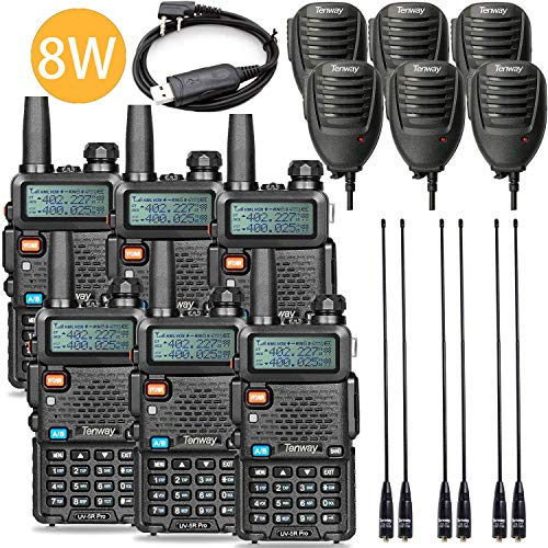Tenway UV-5R Pro 8Watt Dual Band Two Way Radio with Ham Radio and Handheld Speaker Mic and NA-771 Antenna 6Pack and One USB Programming Cable