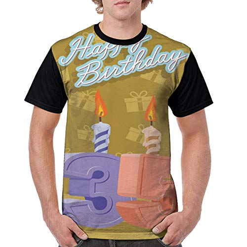 Man's T Shirts,Cheerful Artistic Burning Candles and Surprise Boxes Pattern S