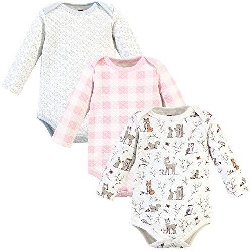 Hudson Baby Unisex Bebé Acolchado Manga Larga Algodón Monos, Body acolchado de algodón de manga larga., 3 meses, rosa azul marino floral