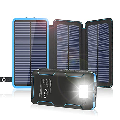 Solar Charger 24000mAh, FEELLE Portable Charger External Battery Pack with Dual USB Ports Waterproof Phone Charger for Smart Phones, Tablets and More