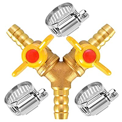 "Da by 3/8"" Hose Barb Brass Ball Valve Fitting Shut Off Y Shaped Type 3 Way Connector by AooBaBa"