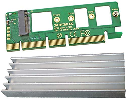 M.2 NVMe SSD to PCI Express 3.0 X16 X4 Adapter with Heavy Duty Heat Sink (ONLY M Key Interface) Card Supports 2230-2280 Full Speed