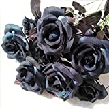 Topgalaxy.Z 15 Pcs Artificial Flowers Black Roses,Fake Roses w/Stem DIY Wedding Bouquets Centerpieces Arrangements Home Decorations, Day of The Dead/Halloween Party Decor Flower (Black Rose)