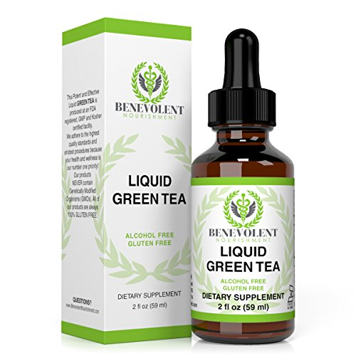 Green Tea Extract - Liquid Herbal Supplement with EGCG - Guaranteed Potency - One Serving = 10 Cups Of Green Tea - Powerful Antioxidant - 100% Alcohol & Gluten Free, Non GMO 2oz Bottle