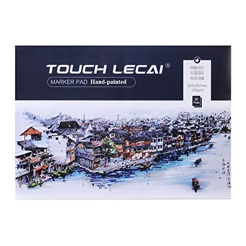 FJNS Lápiz Acuarela Dibujo Escritura Artistas, Paquete de 2, 120 / m² / 40 Hojas, Cuaderno de bocetos, Color Azul y Blanco 29.7x21cm,A3
