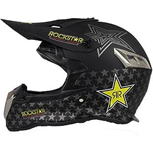 Woljay Dual Sport Off Road Motorcycle Motocross Helmet Dirt Bike ATV D.O.T Certified Rockstar Black (M)