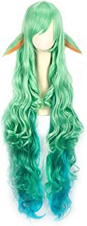 YAXAN Women League Of Legends LOL Character Long Straight Hair Cosplay Shawl Hair Wig Wig For Women (Color : Green, Size : OneSize)
