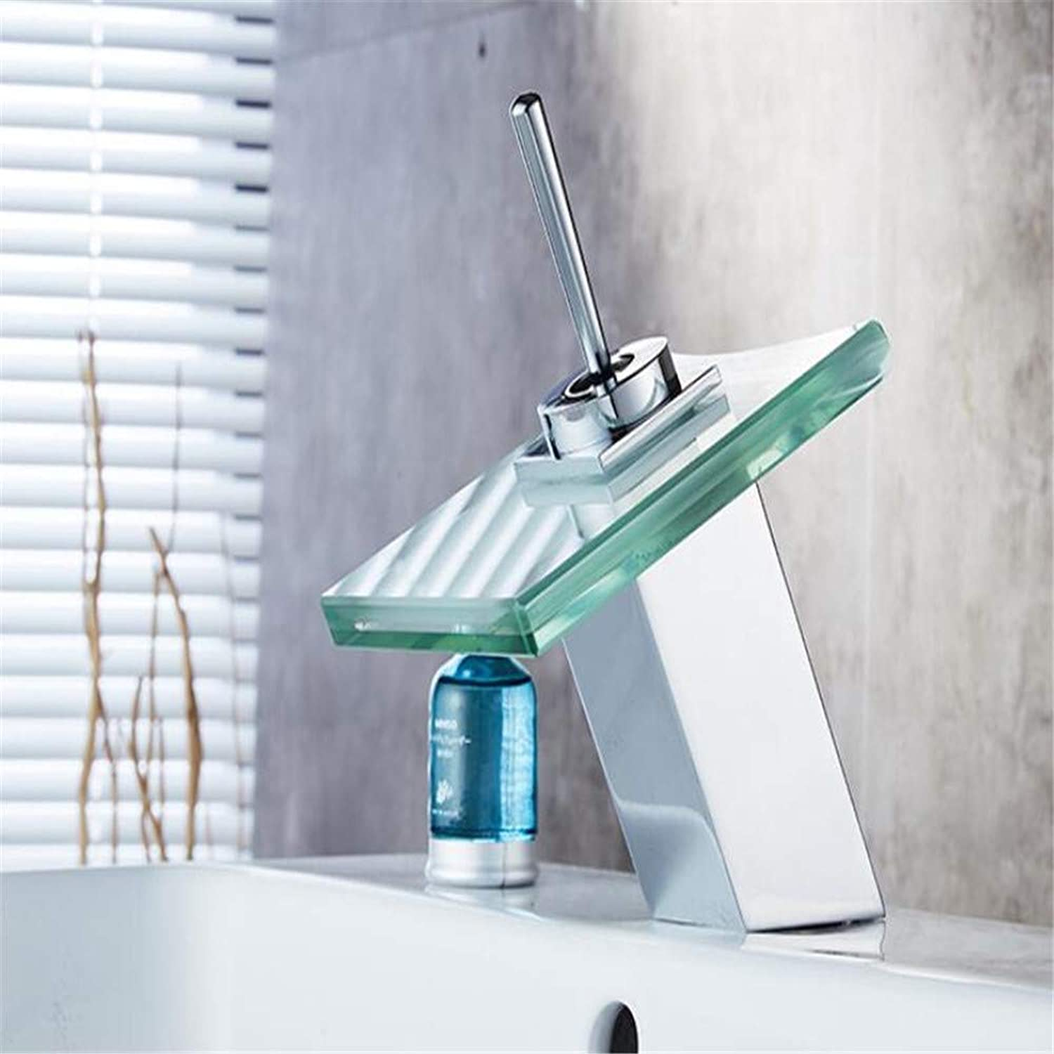Faucetbasin Mixer Tap Bathroom Basin Hot Cold Hot Water Faucet Glass Waterfall Faucet.
