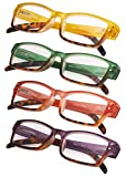4-Pack Ladies Reading Glasses Spring Hinge with Stylish Color for Women Readers