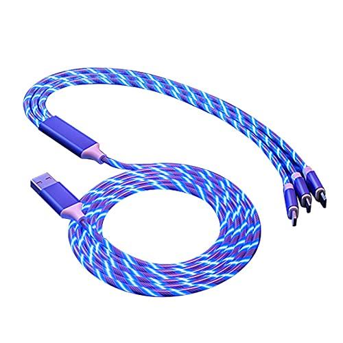 Tramile Cable de carga para coche USB, cable de datos Streamer, multifunción, uno para tres, apto para todo tipo de teléfonos móviles, regalos para vacaciones, azul, Apple