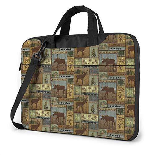 Nature Rustic Mountain Pines Lodge Bear Moose Laptop Shoulder Messenger Bag, Notebook Sleeve Carrying Case