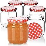 COM-FOUR® 6x Tarros de albañil con tapón de rosca a cuadros en rojo y blanco - TO Ø 82 mm - Hasta 425 ml