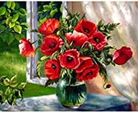 大人のDIYキャンバス絵画芸術クラフトオレンジの花のための番号キットによるアクリル油絵絵具19.7x15.7in1パック