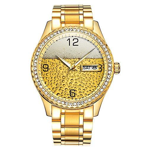 Diamantvergoldete Uhr Luminous Luxury Waterproof Einzigartige Gold-Armbanduhr 038.Bierglas mit Zahlen