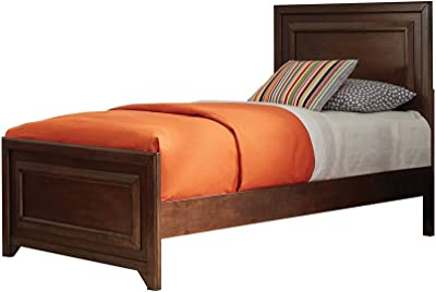Benjara Wooden Twin Size Bed with Panel Style Headboard and Footboard, Brown