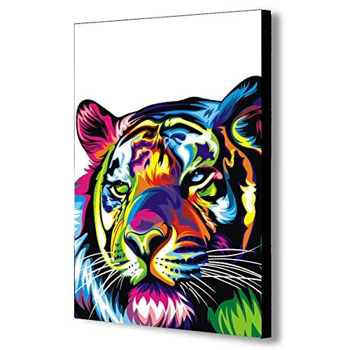 Tiger Pop Art abstrait multicolore – Impression sur toile encadrée Plusieurs tailles (A1 81,3 x 61 cm)