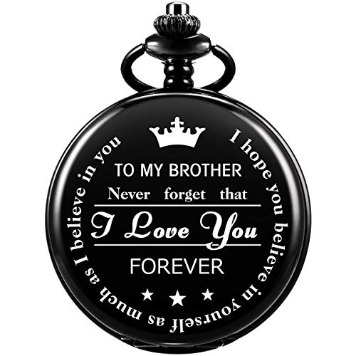 Pocket Watch Men Personalized Black Chain SIBOSUN Quartz to My Brother Engraved
