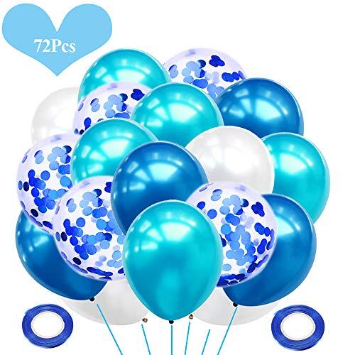 JWTOYZ 72 Stück Luftballons Grün Blau Rosa Weiß Konfetti Ballons mit Band für Geburtstag, Babyparty, Hochzeit - Blau
