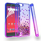 Zingcon Compatible for ZTE Tempo X Phone Case,Avid 4,N9137 Glitter Quicksand Case,with HD Screen Protector,Shockproof Hybrid Hard PC Soft TPU Bling Adorable Shine Protective Cover-Blue/Purple