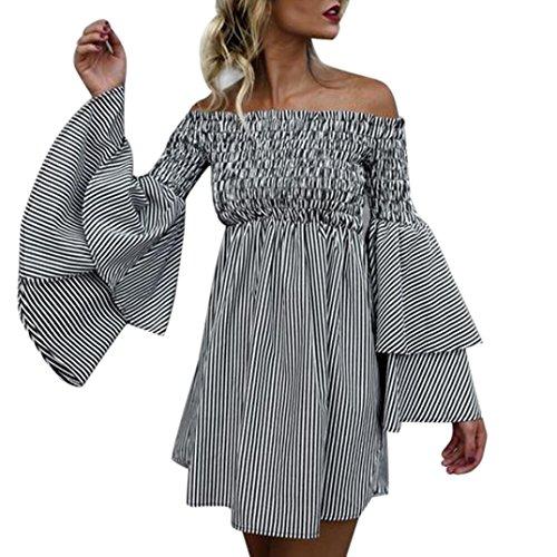 Robe Femmes, Toamen Épaule nu Rayures Robe à manches longues Fête Décontractée Manche de corne Vacances (XL, Noir)