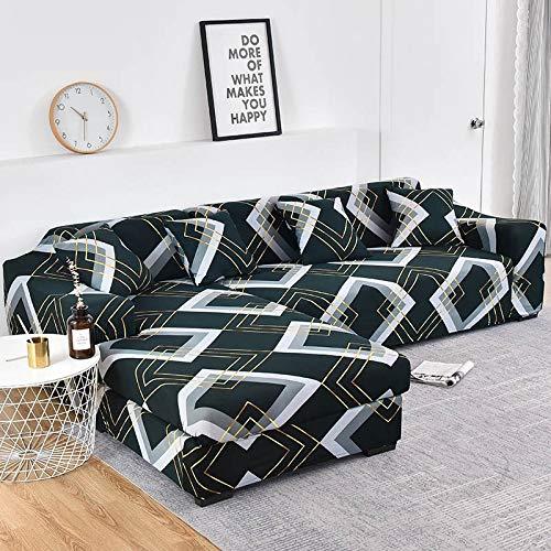 Funda de sofá elástica con Estampado Floral para el Protector de la Funda de la Silla de la Sala de Estar Compre Dos Fundas separadas para el sofá en Forma de L A22 de 2 plazas