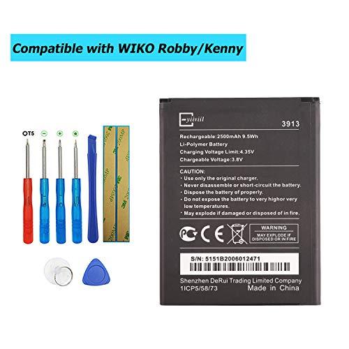 E-YIIVIIL 3913 - Batería de repuesto compatible con WIKO Robby/Kenny/Jerry 2/Lenny 4/Lenny 4 Plus/Harry con kit de herramientas