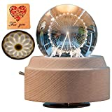3D Crystal Ball Music Box Ferris Wheel Luminous Rotating Musical Box with Projection LED Light and Wood Base Best Gift for Birthday Christmas (A5 Ferris Wheel)