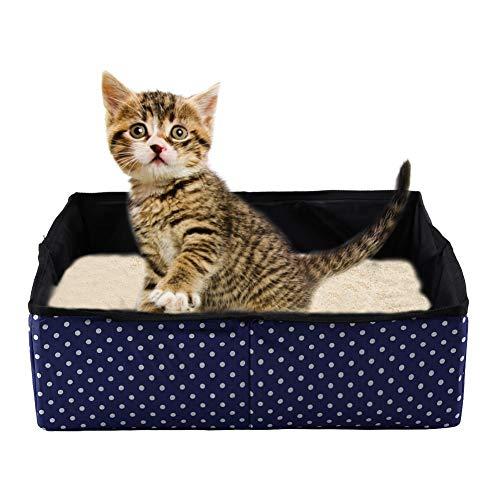 HEEPDD Katze Faltbare Katzenklo Faltbare Wasserdichte Stoff Welle Punkt Druck Haustier Katzenstreu Pan für Reisen Außen Camping Heimgebrauch 40 x 30 x 13 cm (Blau)