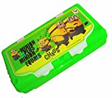 Khurana Plastic minions Printed double side green plastic Pencil Box for kids -(Large)