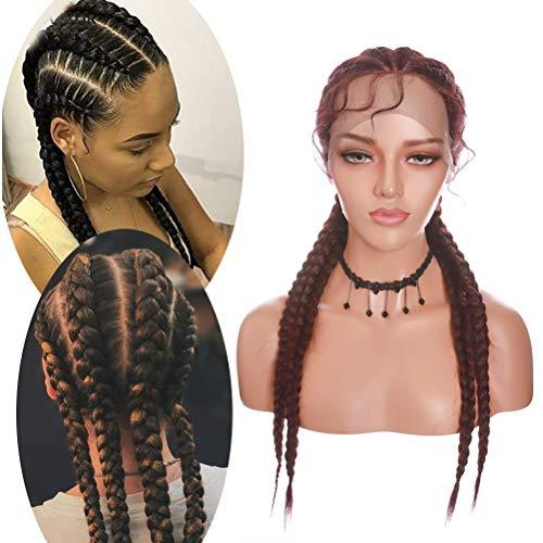 4 cajas de pelucas trenzadas con pelo de beb sinttico trenzado, peluca de ganchillo X Pression trenzado, pelucas largas para mujeres, 24 pulgadas, color rojo vino