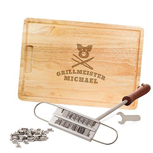 Casa Vivente Grillset, BBQ Brandeisen mit Buchstaben und Schneidebrett, Grillmeister, Personalisiert mit Namen, Grillzubehör, Vatertagsgeschenke
